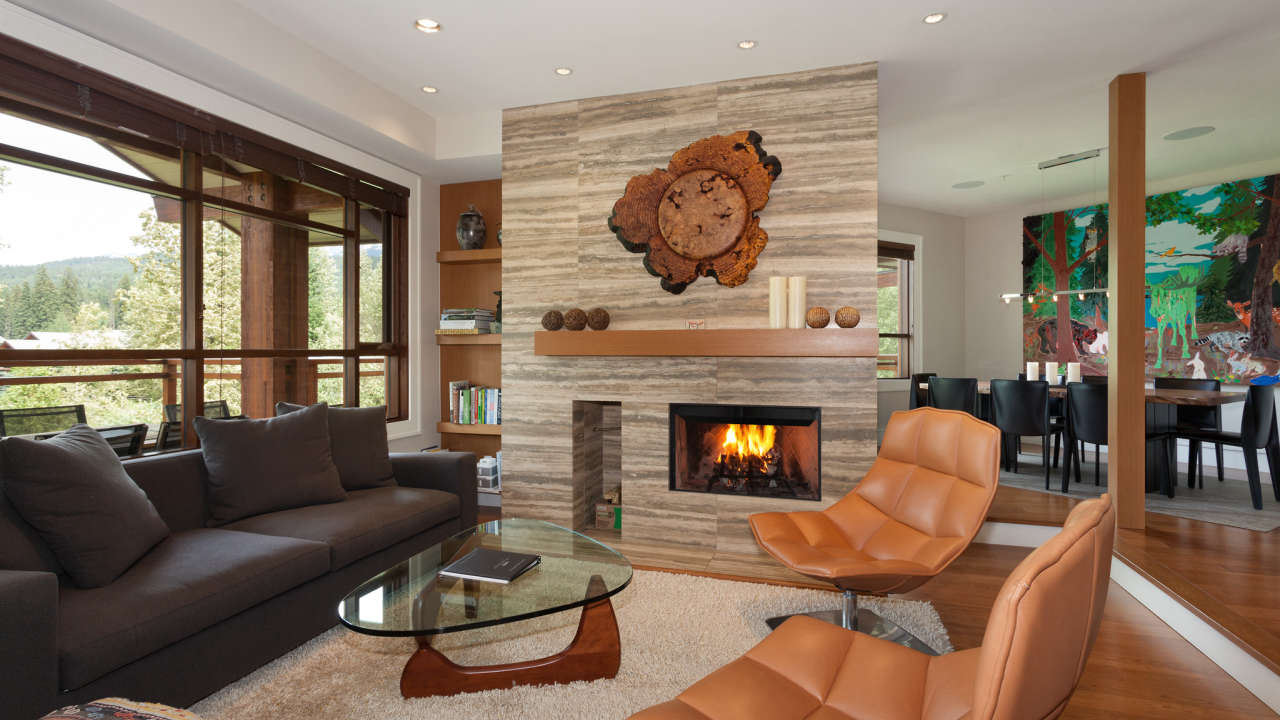 Modern Formal Living Room With Fireplace